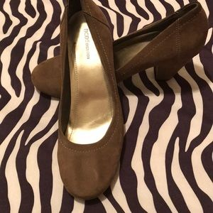 BCBG gray suede shoes